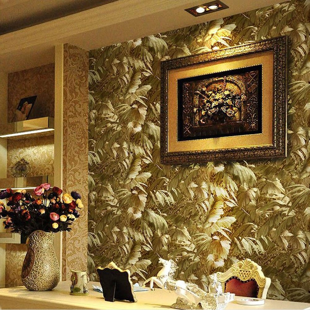 Gold foil 3D wallpaper Three-dimensional relief Wallpaper European luxury KTV Background Wallpaper Luxury Golden Bedroom Parlor Movie Wall paper(0.53x10m )