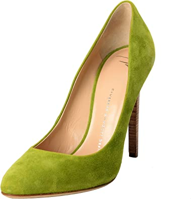 Green Suede Pumps High Heels Shoes