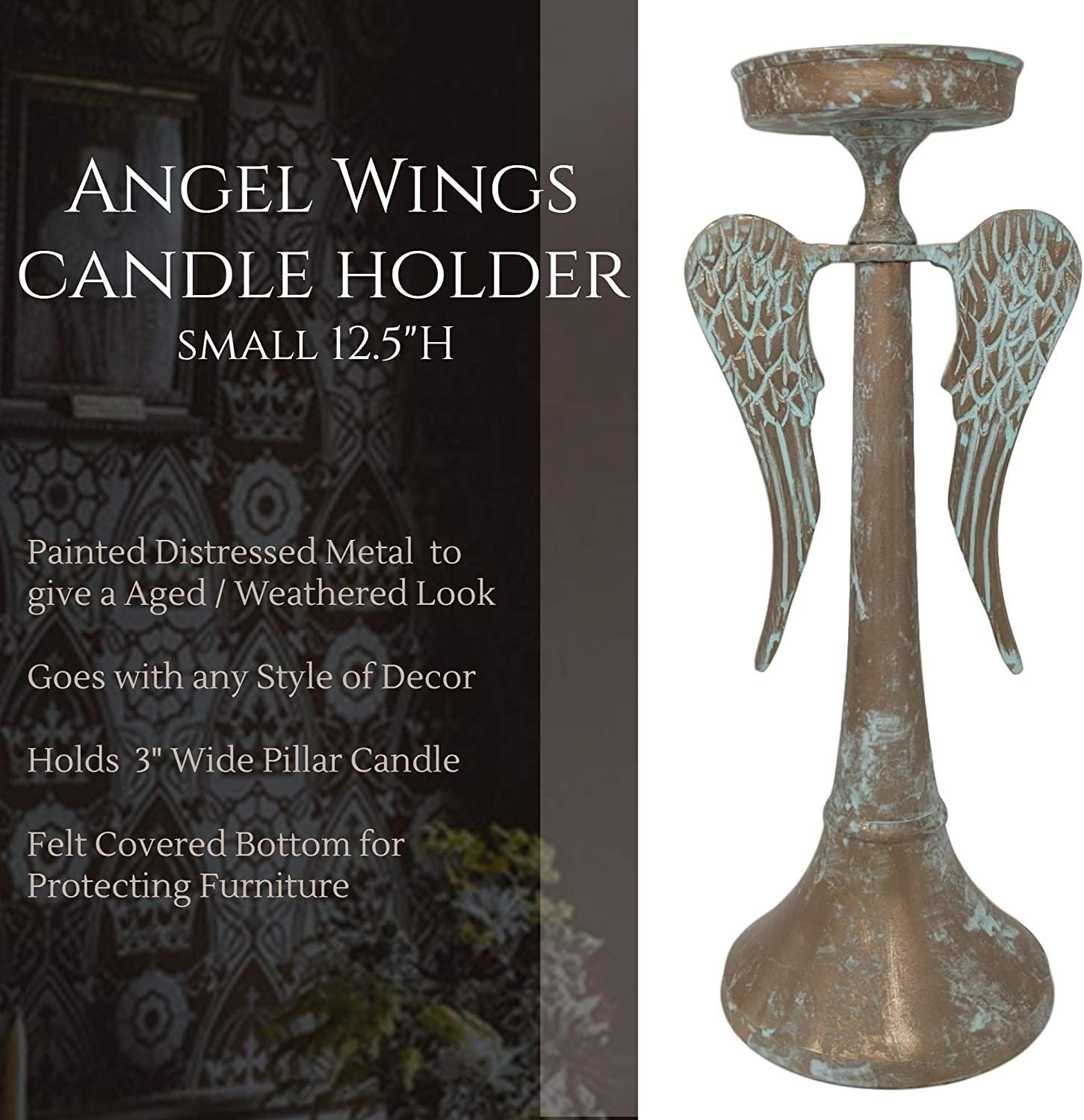 Painted Metal to Give Distressed Rustic Decorative Look and Perfect Pillar Candle Holder Centerpiece for Angel Decor Farmhouse World Angel Wings Candle Holders for Table 12.5 Small Candle Holder