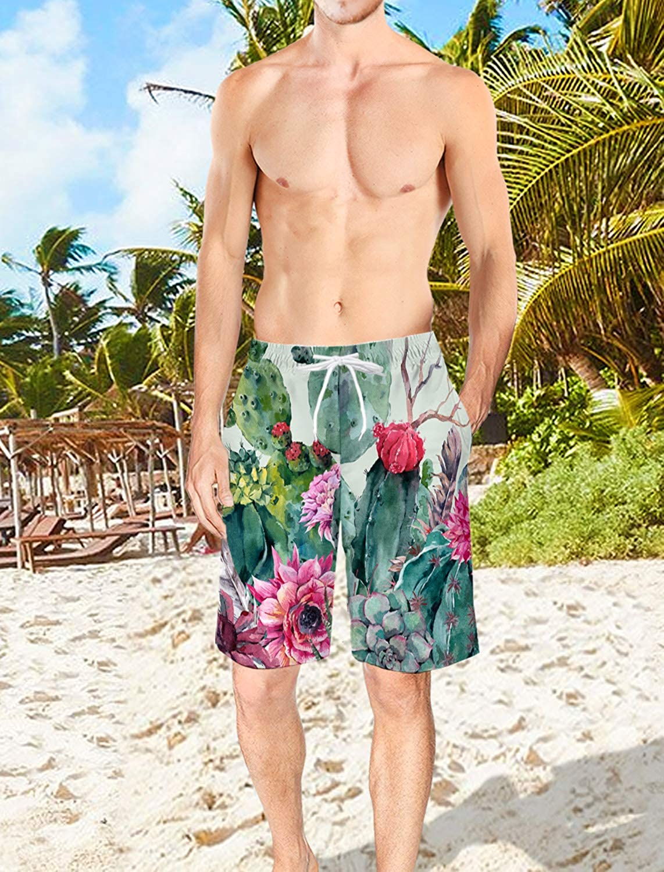 Mens 3D Printed Swim Trunks Cactus and Arrow Summer Beach Shorts with Elastic Waist Drawstring