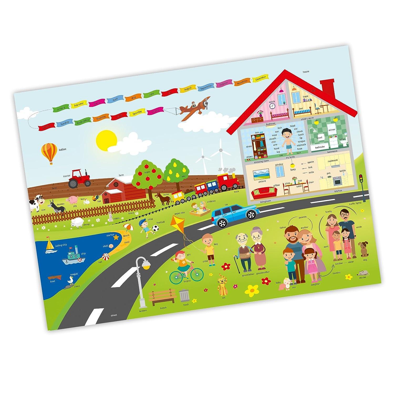 Kinder Gr/ö/ße: A3 1 Schreibtischunterlage mit Lerneffekt nikima Englisch spielerisch Lernen Karton
