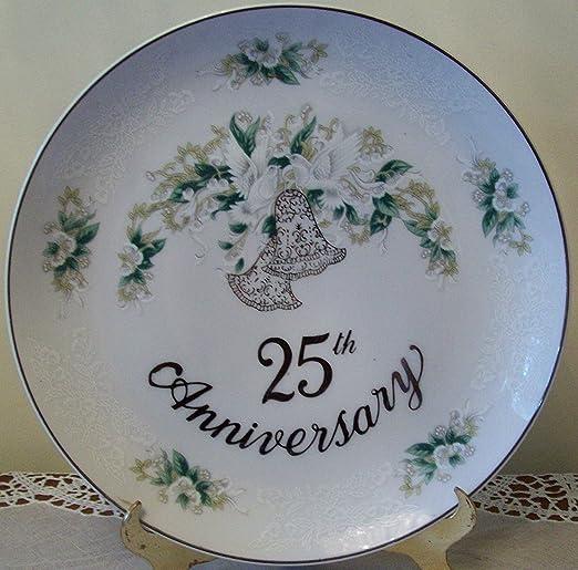 25th Anniversary Plate~Vintage~Silver~Wedding~Keepsake~White~Porcelain~Bells~Lefton China~1995