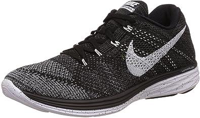 Nike Men's Flyknit Lunar3 Black/White/Mid Fog/Wlf Grey Running Shoe Men