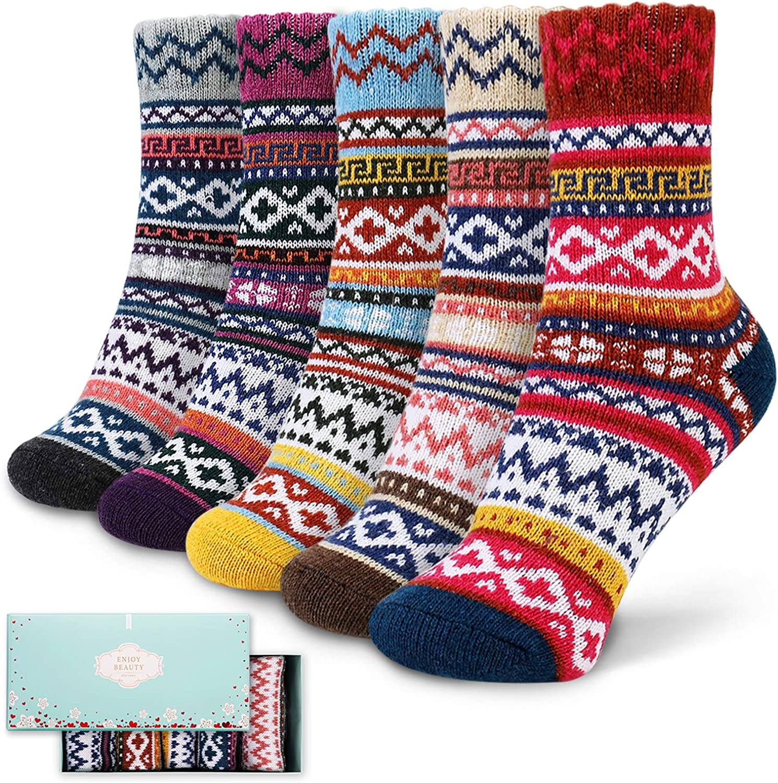 5 Pairs New Ladies Fashion Socks Cute Wool Thick Winter Warm Thermal Ankle Socks