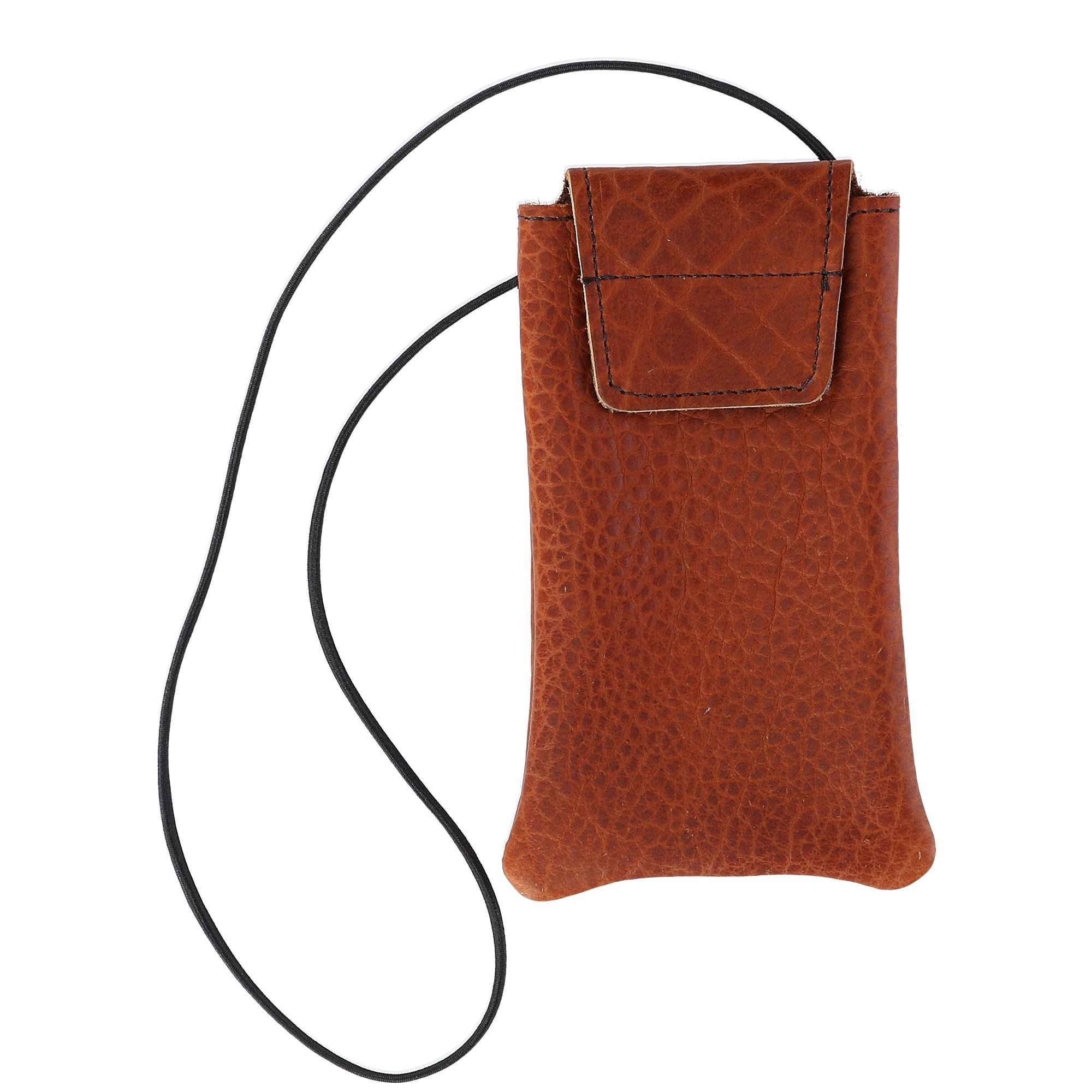 Boston Leather Textured Bison Leather Eyeglass Case with Neck String, Tuscan by Boston Leather