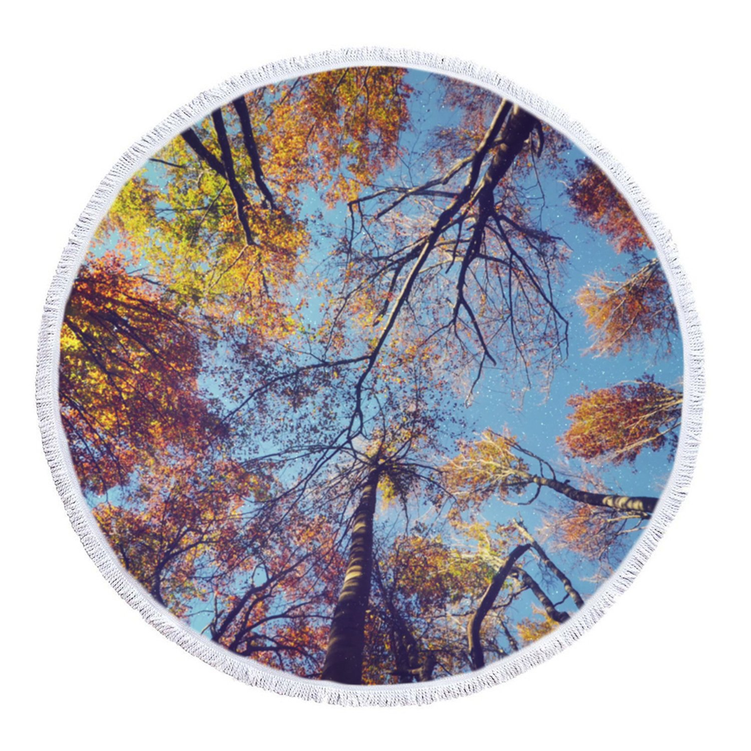 LIPOR Handcraft Round Beach Towel,Forest Tree Starry Under Galaxy Milky Way Night Sky,Thick Round Beach Towel Tapestry Blanket Yoga Mat With Tassels 60 inches