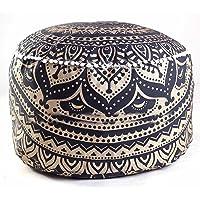 Sophia Art Indian Gold Ombre Mandala Voetenbank Ronde Poef Cover Ottomaanse Cover Poef Decoratieve Poef Ottomaanse…