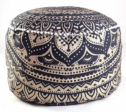 """Star Mandala Pouf Ottoman Round Indian Ottoman Poof Pouffe Foot Stool Ethnic 24/"""""""