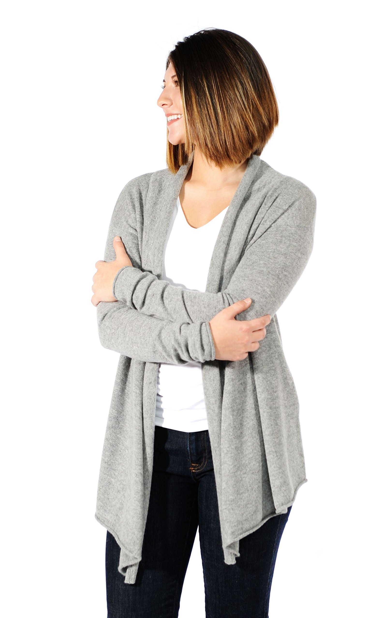 Gigi Reaume 100% Cashmere Womens Sweater, Open Front Cardigan, Shawl Collar Swing Style (Large, Grey Heather) by Gigi Reaume