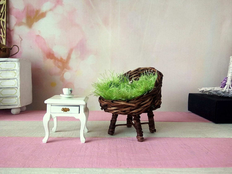 Miniature Chair Mini Wicker Armchair Lati Yellow Dollhouse Furniture 1:8 Scale
