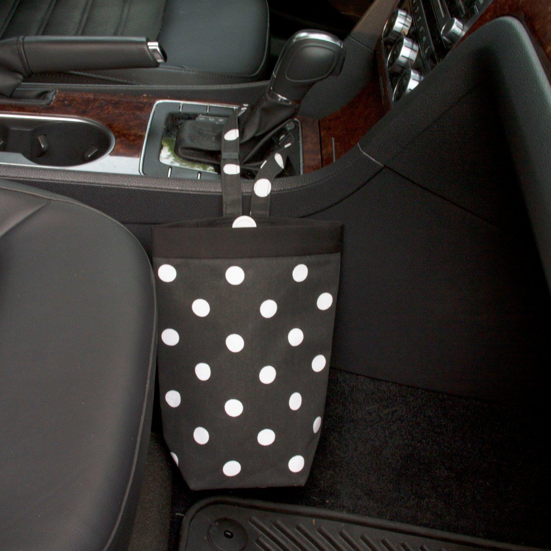 Car Trash Bag, Black Polka Dots, Customizable, Car Organizer, Auto Bag, Auto Organizer, Car Accessories, Car Gift, Auto Trash Can