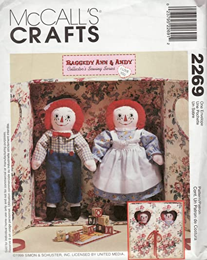 Amazon.com: McCall\'s 2269 Raggedy Ann & Andy **Sewing Pattern ...