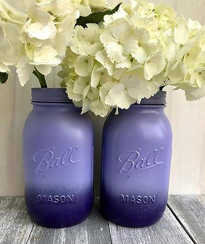 Amazon.com: Set of 2 Purple Mason Jars Country Chic Wedding ...