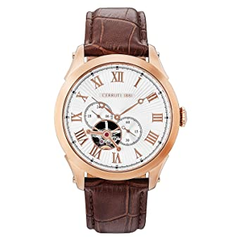 ae16d9e08a Cerutti 1881 Men's Silver Dail Leather Band Watch - C CRWA162SR04BR ...