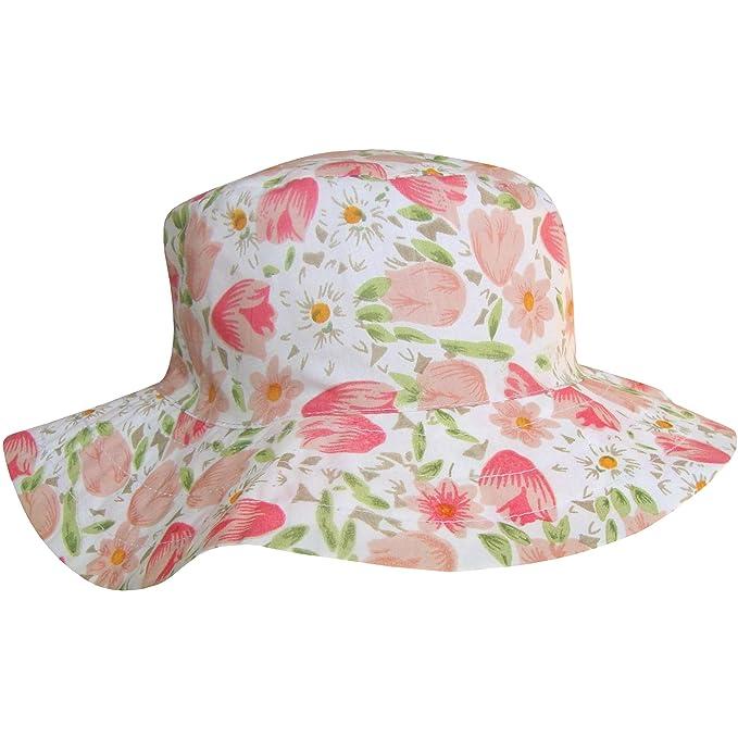 da881bf4a40 TeddyT s Women s Wide Brim Floral Tulip Design Summer Sun Hat ...