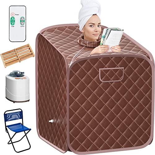 Giantex Portable Steam Sauna Spa 2L Folding Private Sauna Tent W/Chair Foot Massage Roller Absorbent Pad and 9 Adjustable Temperature Levels Spa Tent