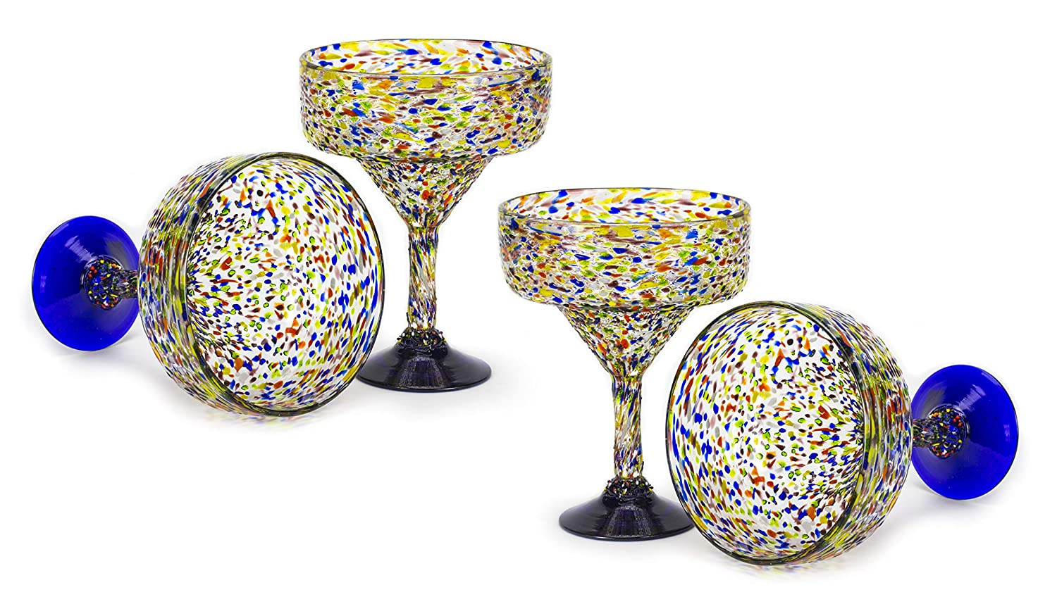 MEXART Artisan Crafted Hand Blown Confetti Multicolor Margarita Glass Recycled Glass, 16 oz. 'Classic' (Set of 4)
