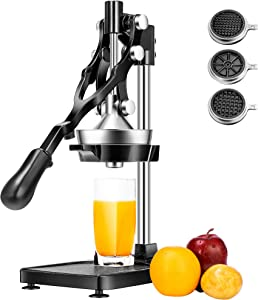 VIVOHOME 3 in 1 Heavy Duty Commercial Multifunctional Manual Hand Press Citrus Orange Juicer Squeezer and French Fries Apple Cutter Machine