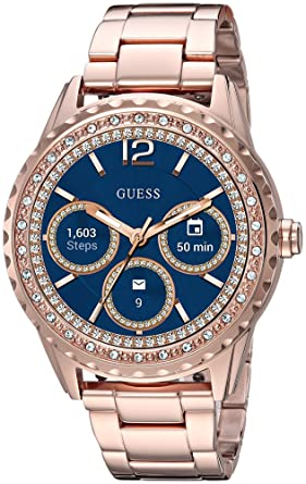 GUESS Womens Connect Androidwear Quartz Watch with Stainless-Steel Strap, Rose Gold, 10