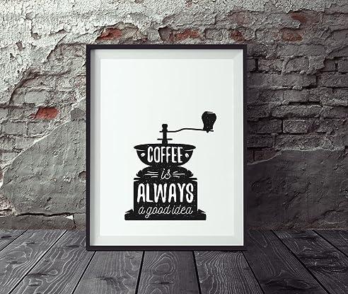 Amazon.de: Poster Küche DIN A4, Poster Kaffee, Wandbild Küche ...