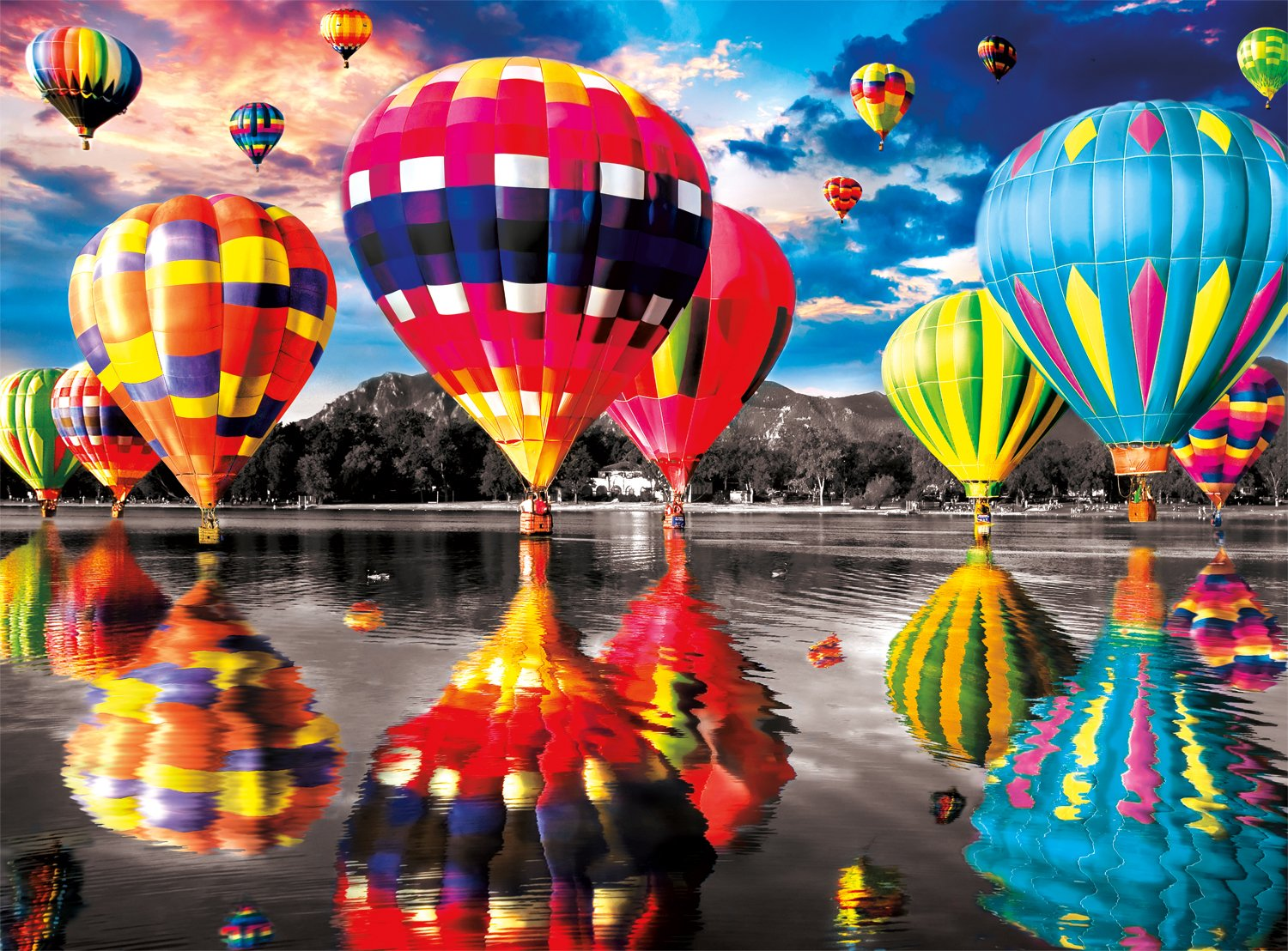 Buffalo Games Balloon Dream Jigsaw Puzzle from The Farbe Splash Collection (1000 Piece) by Buffalo Games