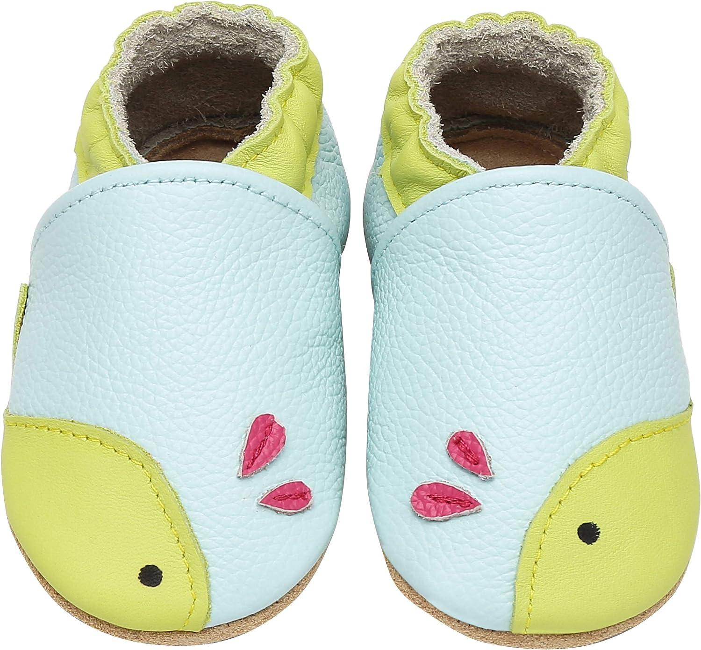 Yavero Zapatos de Bebe Suave Zapatillas de Cuero Cómodas Zapatillas de Andar Bebe Ligeros Zapatitos Primeros Pasos, 0-24 Meses