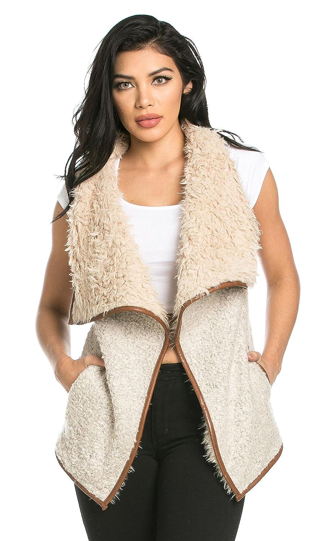 SOHO GLAM Draped Sleeveless Faux Fur Wool Vest in Tan Sohogirl.com QSHRLNGVESTTAN