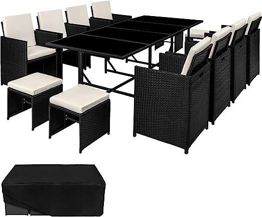 TecTake Conjunto muebles de jardín en ratán sintético comedor juego 8+4+1 + funda completa | tornillos de acero inoxidable (Negro | No. 402831): Amazon.es: Jardín