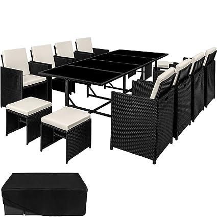 TecTake Ensemble Salon de jardin en Résine Tressée Poly Rotin Table Set  8+1+4 + Housse de Protection | Vis en Acier Inoxydable | diverses couleurs  ...