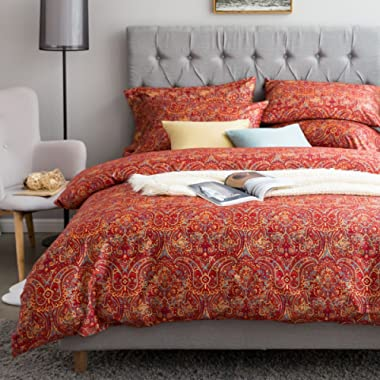 Boho Paisley Print Luxury Duvet Quilt Cover and Shams 3pc Bedding Set Bohemian Damask Medallion 350TC Egyptian Cotton Sateen (Queen, Yellow Red)