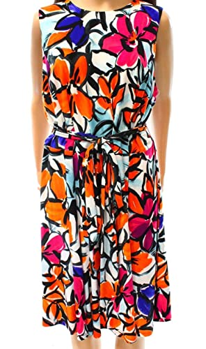 Lauren Ralph Lauren Womens Floral Print Sleeveless Casual Dress Orange 6