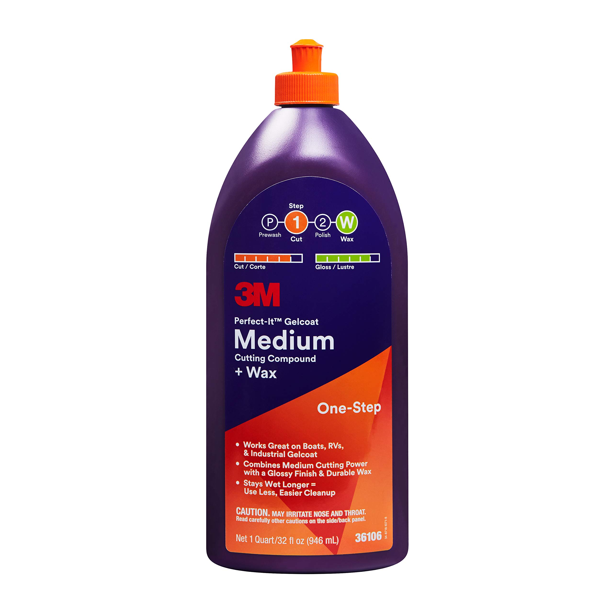 3M Perfect-It Gelcoat Medium Cutting Compound + Wax (36106) - For Boats and RVs - 1 Quart