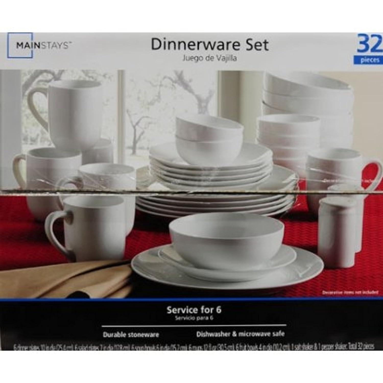 sc 1 st  Amazon.com & Amazon.com | 32-Piece Stoneware White Dinnerware Set: Dinnerware Sets