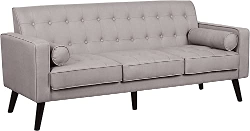 Container Furniture Direct S5302-L Valadez Linen Upholstered Tufted Mid-Century Modern Loveseat with Bolsters, Light Brown