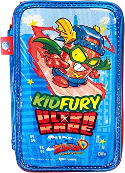 Cife SUPERZINGS Estuche Triple ZUPERZINGS Kid Fury Colores, 16 rotuladores, Bolis, Regla, Calendario, lápiz, Goma, Multicolor con Glitter (42044): Amazon.es: Juguetes y juegos