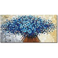 LVLUOYE Cuadros Modernos Pinturas al óleo sobre Lienzo Totalmente Pintada Mano - Pared Cuadros Art Deco - Textura Azul Floral Lista para Colgar - Pintura Abstractas Sala Estar Dormitorio