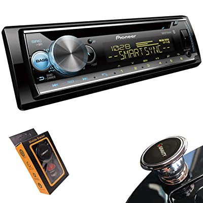 Pioneer DEH-S5200BT Single DIN CD in-Dash Receiver with MIXTRAX, Built-in Bluetooth, and Color Customization + Magnet Phone Holder
