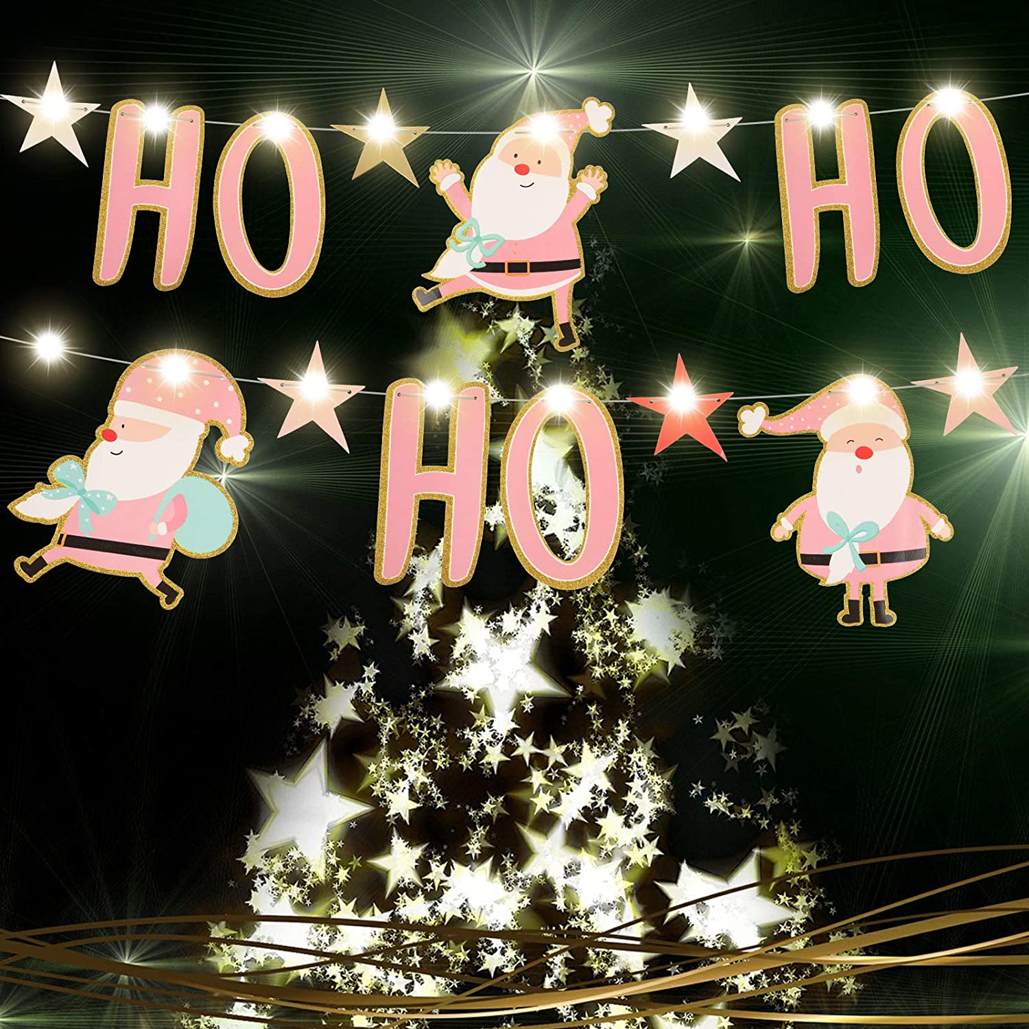 Christmas Banner Santa Hohoho Banner Indoor Outdoor Decorations and 9.84 ft Warm White Copper Wire Lamp Combination for Home Office Party Fireplace Mantle