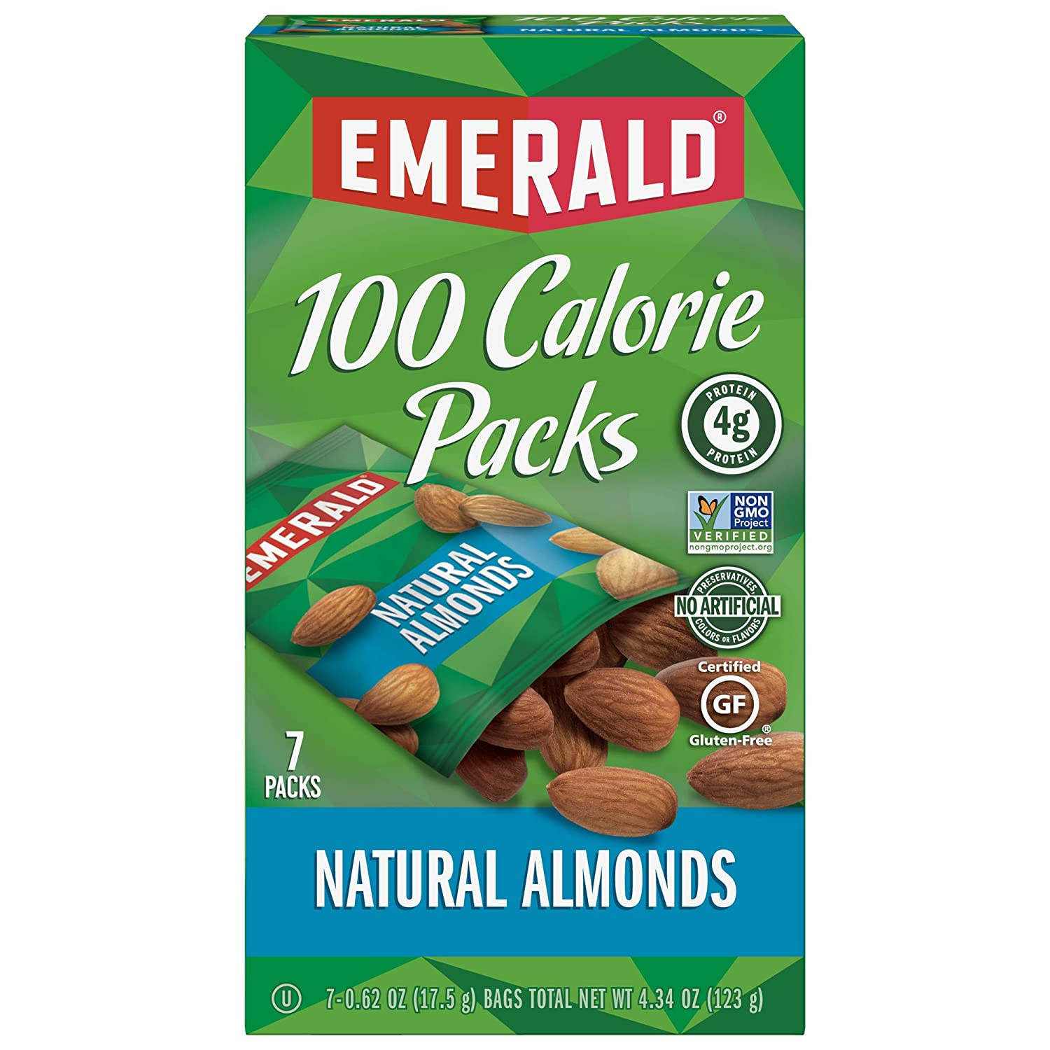 Amazon.com : Emerald Nuts, Natural Almonds 100 Calorie Packs, 7 Count Boxes  (Pack of 12) : Snack Almonds : Grocery & Gourmet Food