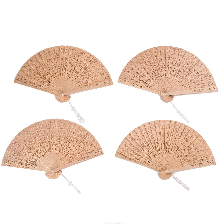 Sepwedd Set of 10pcs Sandalwood Fan Favors with Gift Bags and Tassels Wooden Folding Fan 10Pcs