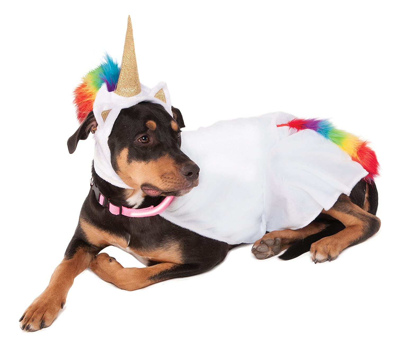 Rubies Costume Co Unicorn Cape with Hood and Light-Up Collar for Pets, Medium 580088 M