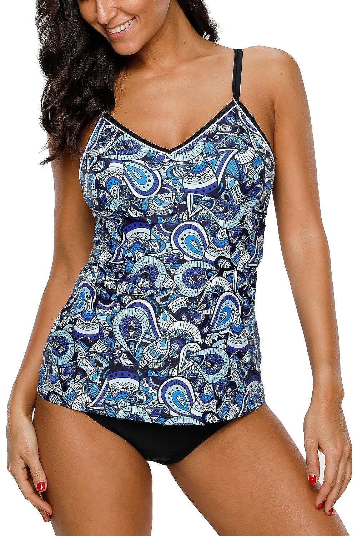 57656adf16 CharmLeaks Women's Printed Tankini Swimsuit Cross Back Two Piece Swimwear  Set at Amazon Women's Clothing store: