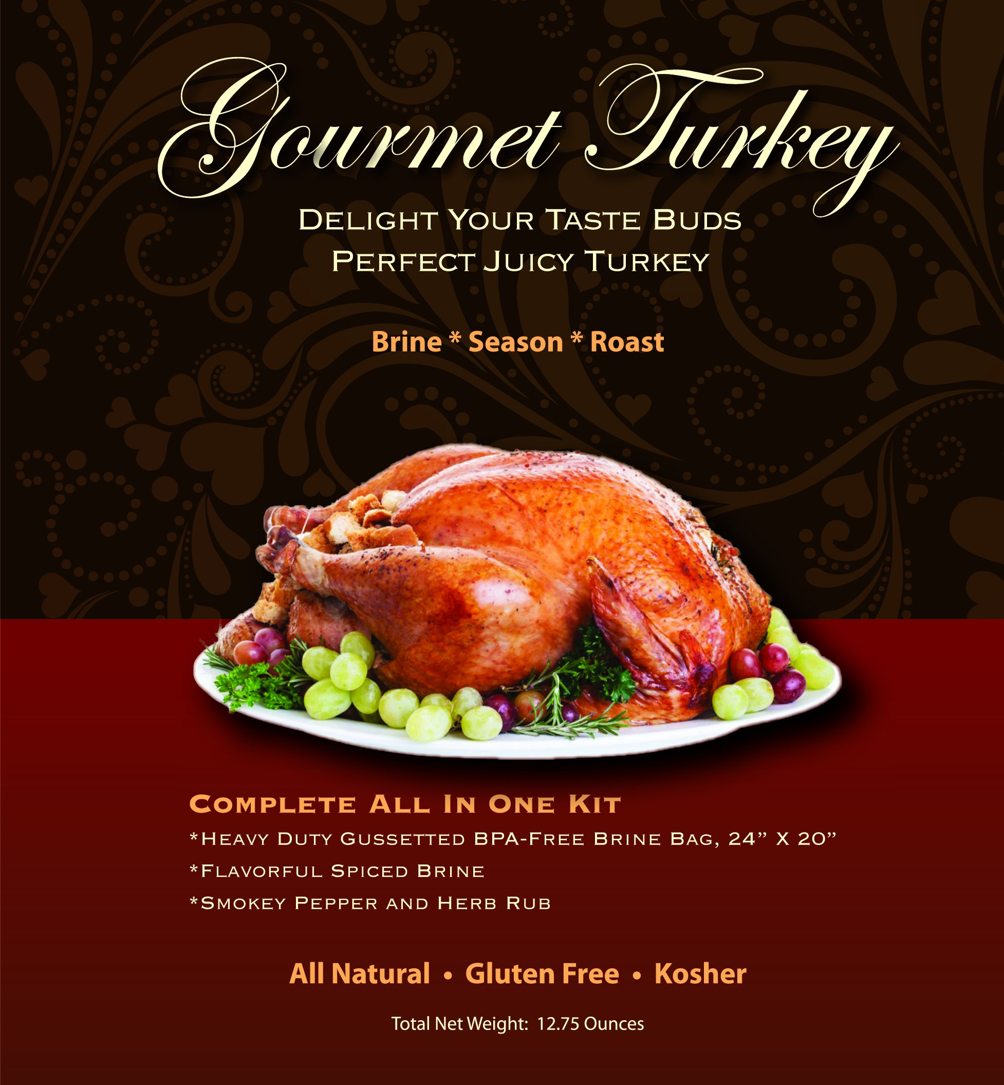 Gourmet Turkey Brine Kit, All-In-One System For Creating A Fine Dining Experience, Includes Spiced Brine, Smokey Pepper and Herb Rub and Heavy Duty BPA Free Brine Bag