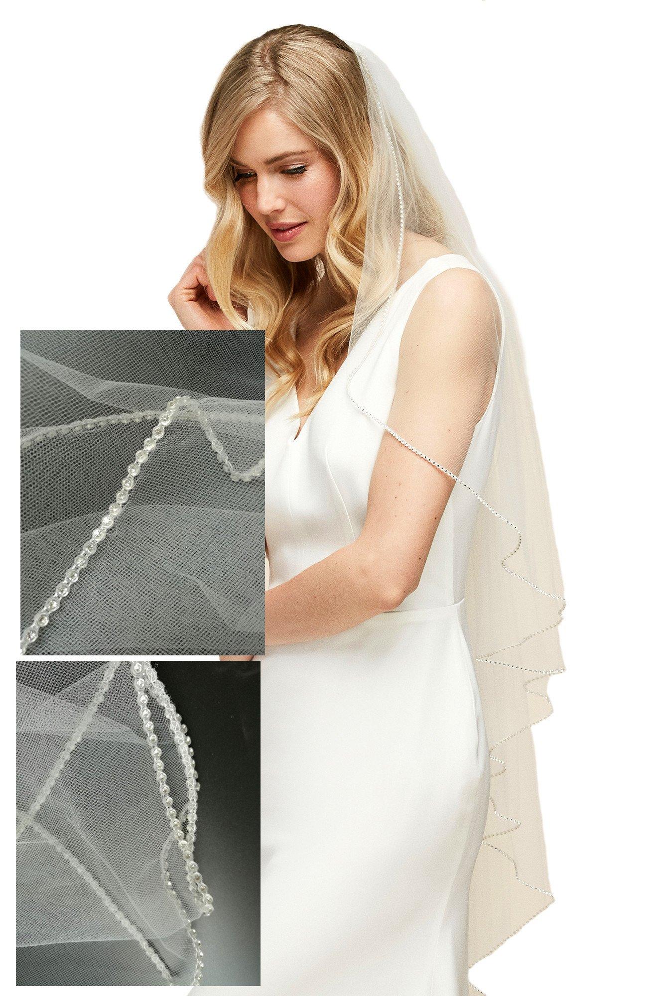 Passat Ivory 1 Tier 2M Long Long Wedding Veils Rhinestone Edge Bridal Veil 223 by Passat
