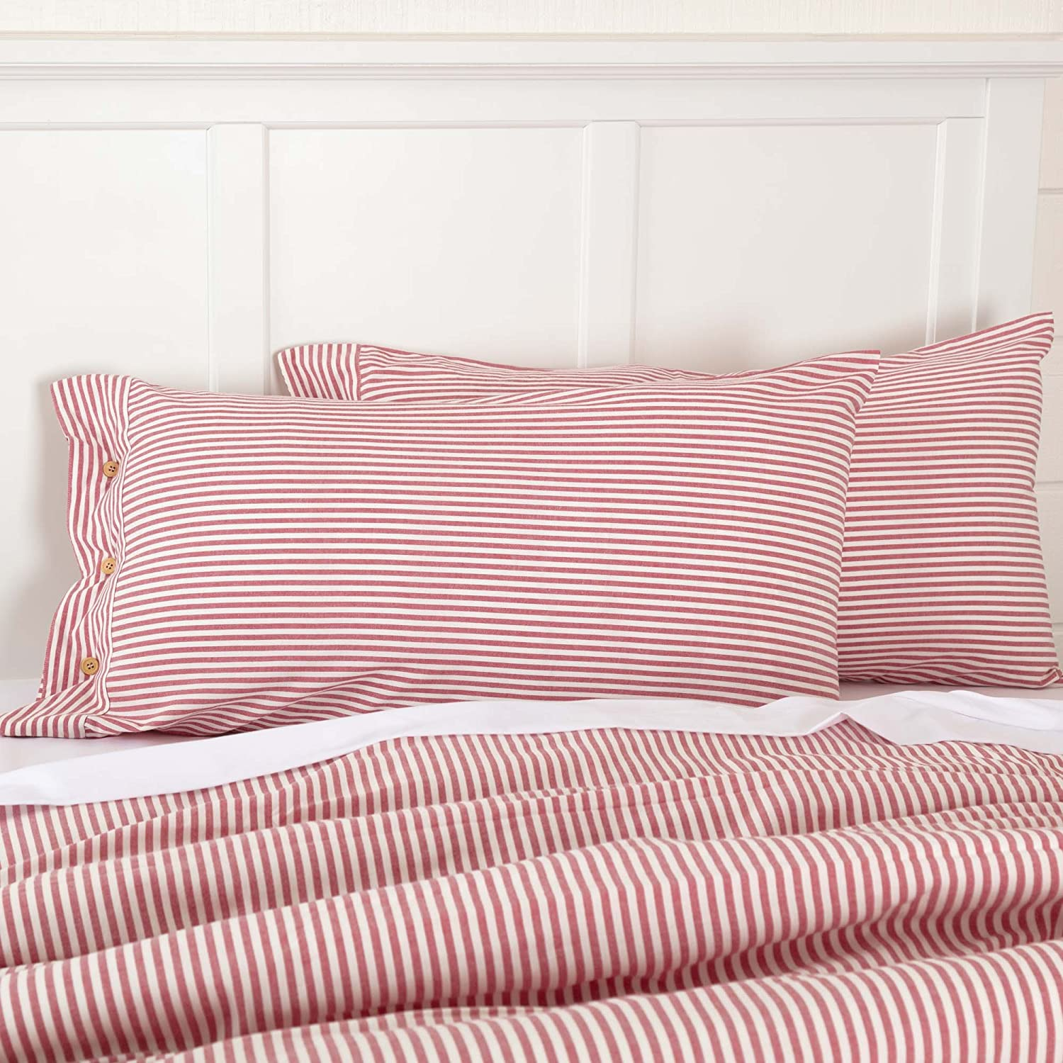 Piper Classics Farmhouse Ticking Stripe Red Queen Bed Skirt, 60