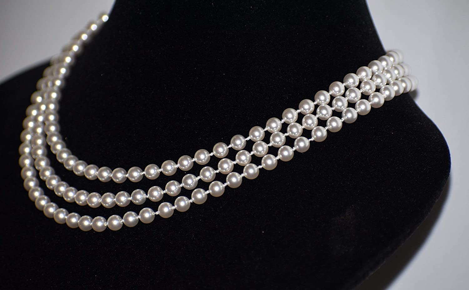 38e0f98184b10 Three Row knotted White Swarovski Pearl Necklace For Women Sterling ...