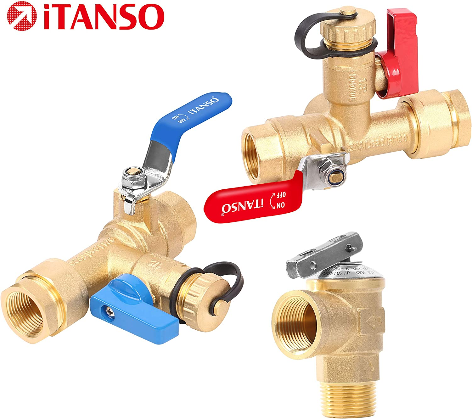 iTANSO 3/4-Inch IPS Isolator Tankless Water Heater Service Valve Kit with Clean Brass Construction