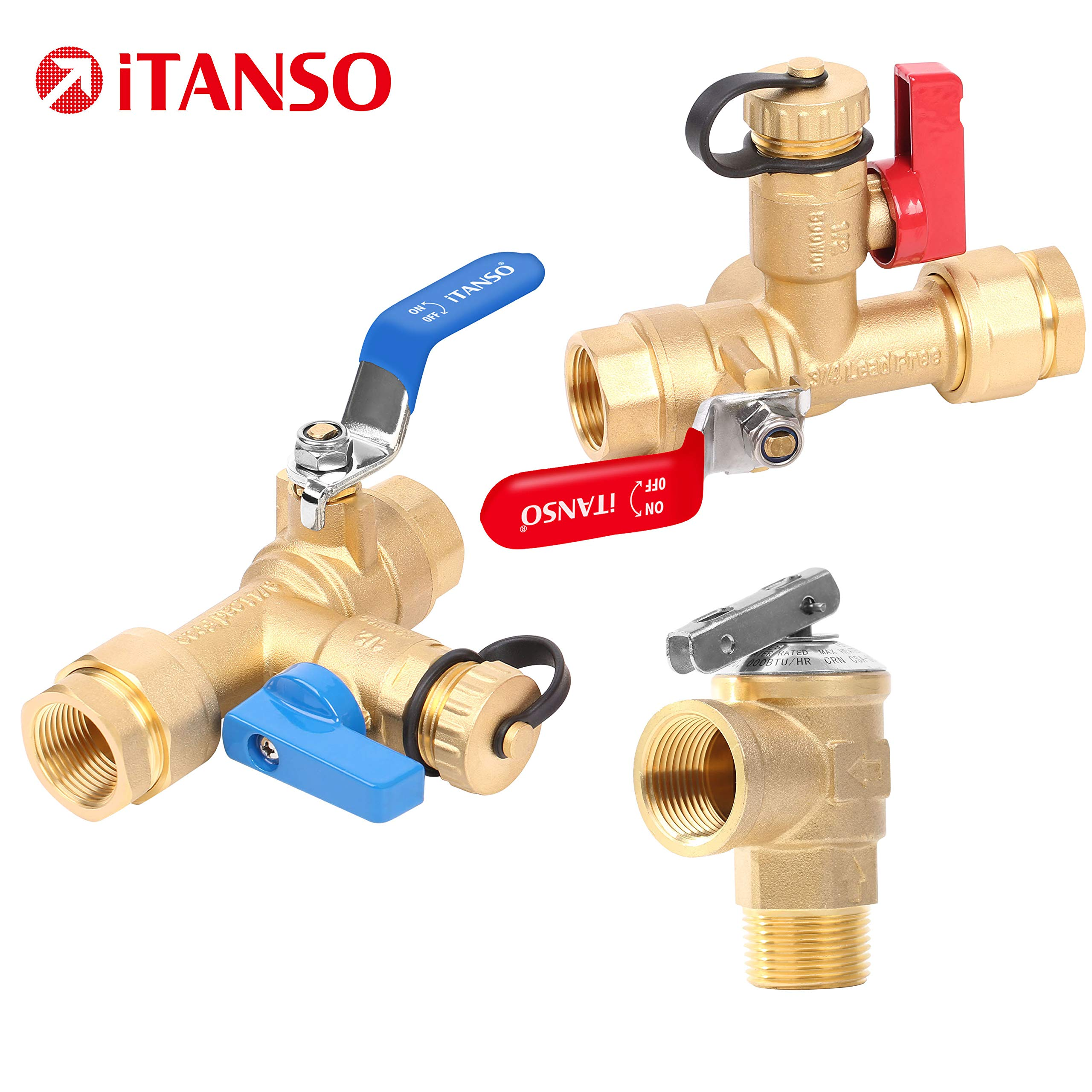 iTANSO 3/4-Inch IPS Isolator Tankless Water Heater Service Valve Kit with Clean Brass Construction by itanso