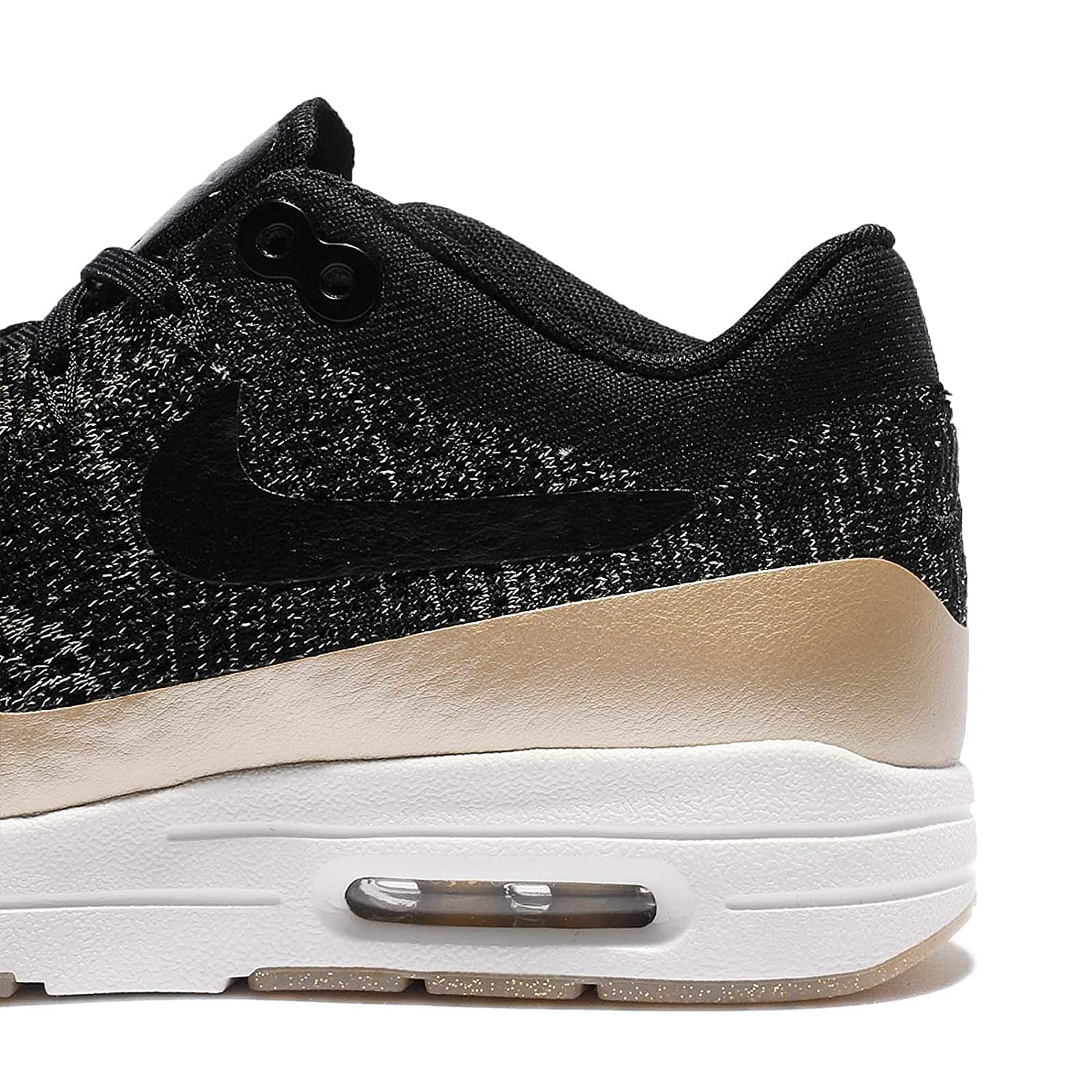 Details about Nike Air Max 1 Ultra 2.0 FK Flyknit Womens Metallic Black Gold 881195 001
