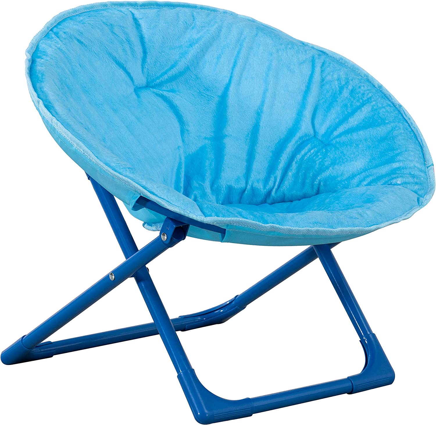 AmazonBasics Kids Folding Moon Indoor Papasan Chair for Children - Solid Blue